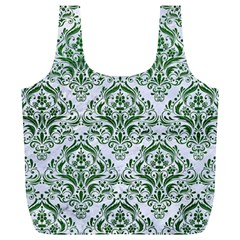Damask1 White Marble & Green Leather (r) Full Print Recycle Bags (l)