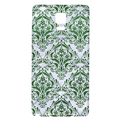 Damask1 White Marble & Green Leather (r) Samsung Note 4 Hardshell Back Case