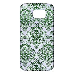 Damask1 White Marble & Green Leather (r) Samsung Galaxy S6 Hardshell Case