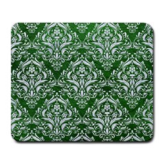 Damask1 White Marble & Green Leather Large Mousepads