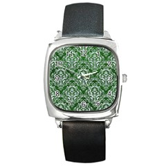 Damask1 White Marble & Green Leather Square Metal Watch