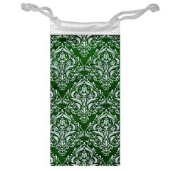 Damask1 White Marble & Green Leather Jewelry Bags