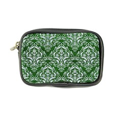 Damask1 White Marble & Green Leather Coin Purse