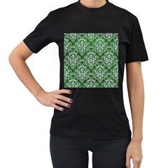 Damask1 White Marble & Green Leather Women s T Shirt (black)