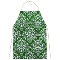 Damask1 White Marble & Green Leather Full Print Aprons