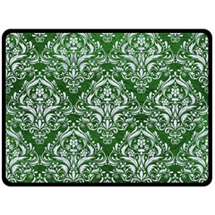 Damask1 White Marble & Green Leather Fleece Blanket (large)
