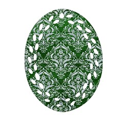 Damask1 White Marble & Green Leather Oval Filigree Ornament (two Sides) by trendistuff