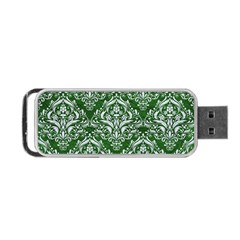 Damask1 White Marble & Green Leather Portable Usb Flash (one Side)