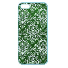 Damask1 White Marble & Green Leather Apple Seamless Iphone 5 Case (color)