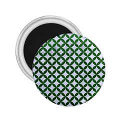 Circles3 White Marble & Green Leather (r) 2 25  Magnets