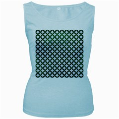 Circles3 White Marble & Green Leather (r) Women s Baby Blue Tank Top