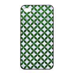 Circles3 White Marble & Green Leather (r) Apple Iphone 4/4s Seamless Case (black)