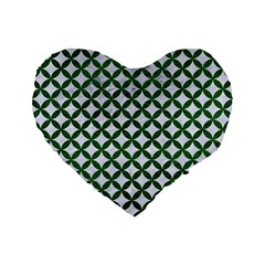 Circles3 White Marble & Green Leather (r) Standard 16  Premium Flano Heart Shape Cushions