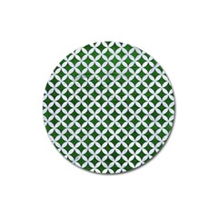 Circles3 White Marble & Green Leather Magnet 3  (round)