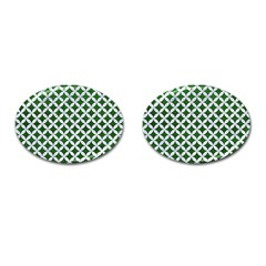 Circles3 White Marble & Green Leather Cufflinks (oval)