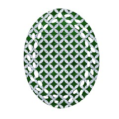 Circles3 White Marble & Green Leather Oval Filigree Ornament (two Sides)