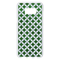 Circles3 White Marble & Green Leather Samsung Galaxy S8 Plus White Seamless Case