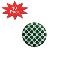 Circles2 White Marble & Green Leather (r) 1  Mini Magnet (10 Pack)