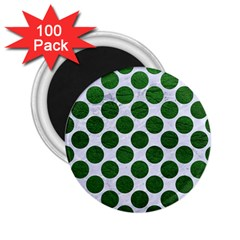 Circles2 White Marble & Green Leather (r) 2 25  Magnets (100 Pack)