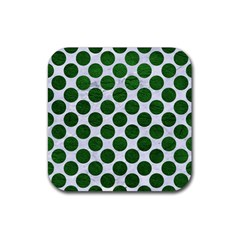 Circles2 White Marble & Green Leather (r) Rubber Square Coaster (4 Pack)  by trendistuff