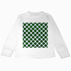 Circles2 White Marble & Green Leather (r) Kids Long Sleeve T Shirts