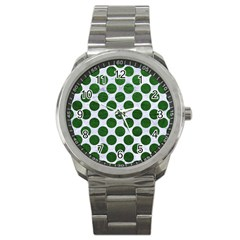 Circles2 White Marble & Green Leather (r) Sport Metal Watch