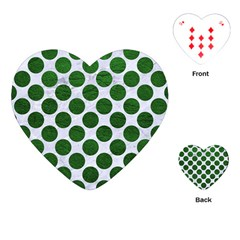 Circles2 White Marble & Green Leather (r) Playing Cards (heart)
