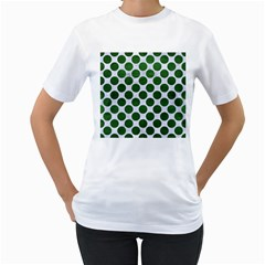 Circles2 White Marble & Green Leather (r) Women s T Shirt (white)