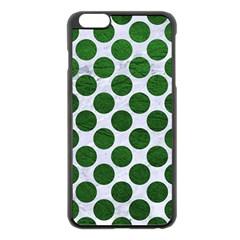 Circles2 White Marble & Green Leather (r) Apple Iphone 6 Plus/6s Plus Black Enamel Case