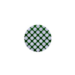 Circles2 White Marble & Green Leather 1  Mini Magnets