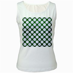 Circles2 White Marble & Green Leather Women s White Tank Top