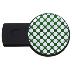 Circles2 White Marble & Green Leather Usb Flash Drive Round (2 Gb)