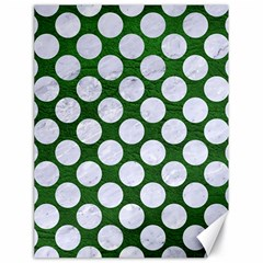 Circles2 White Marble & Green Leather Canvas 18  X 24
