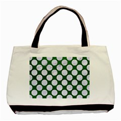 Circles2 White Marble & Green Leather Basic Tote Bag (two Sides)