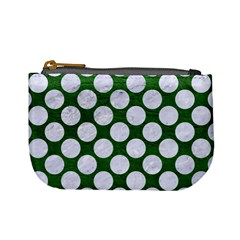 Circles2 White Marble & Green Leather Mini Coin Purses