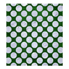 Circles2 White Marble & Green Leather Shower Curtain 66  X 72  (large)