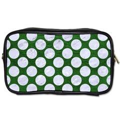Circles2 White Marble & Green Leather Toiletries Bags