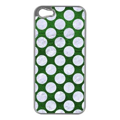 Circles2 White Marble & Green Leather Apple Iphone 5 Case (silver)