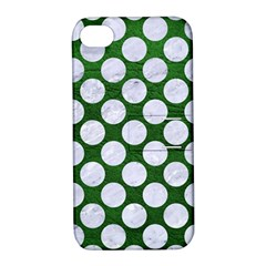 Circles2 White Marble & Green Leather Apple Iphone 4/4s Hardshell Case With Stand