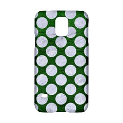 Circles2 White Marble & Green Leather Samsung Galaxy S5 Hardshell Case