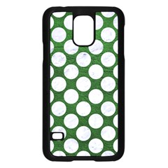Circles2 White Marble & Green Leather Samsung Galaxy S5 Case (black)