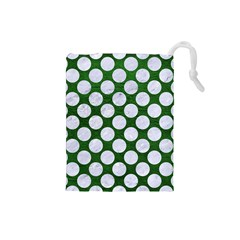 Circles2 White Marble & Green Leather Drawstring Pouches (small)