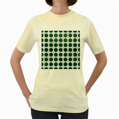 Circles1 White Marble & Green Leather (r) Women s Yellow T Shirt