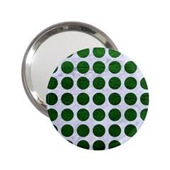 Circles1 White Marble & Green Leather (r) 2 25  Handbag Mirrors