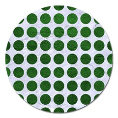 Circles1 White Marble & Green Leather (r) Magnet 5  (round) by trendistuff