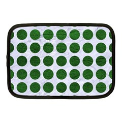 Circles1 White Marble & Green Leather (r) Netbook Case (medium)