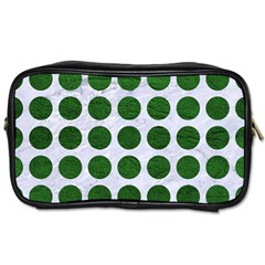 Circles1 White Marble & Green Leather (r) Toiletries Bags by trendistuff