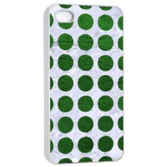 Circles1 White Marble & Green Leather (r) Apple Iphone 4/4s Seamless Case (white)