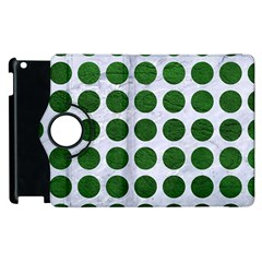 Circles1 White Marble & Green Leather (r) Apple Ipad 2 Flip 360 Case