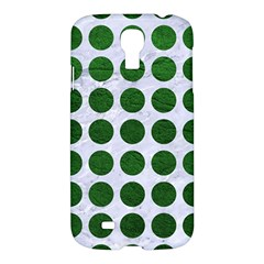 Circles1 White Marble & Green Leather (r) Samsung Galaxy S4 I9500/i9505 Hardshell Case
